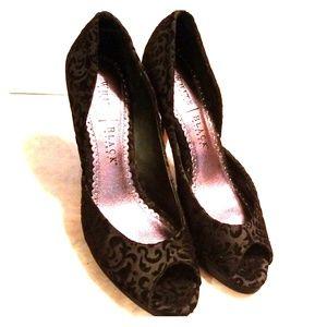 White House black market velvet/satin black heels